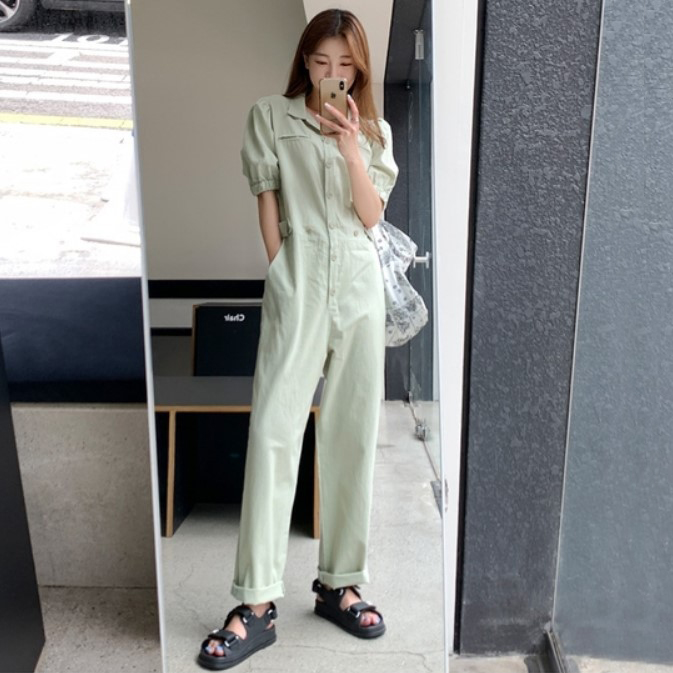 South Korea purchasing 2020 summer new fashion fashion fashion elastic waist show thin work clothes straight tube casual body clothes