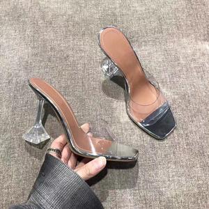 2021夏季网红同款新款水晶跟露趾凉拖鞋女PVC透明细跟方头凉鞋女