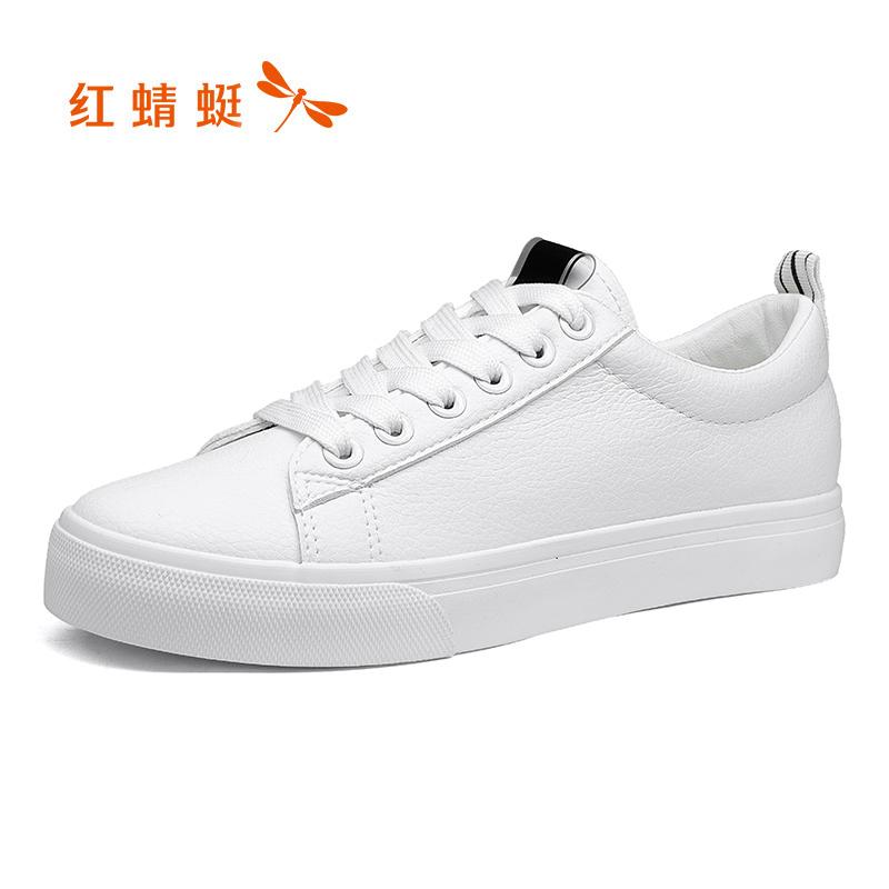 红蜻蜓夏季春款透气平底休闲白鞋