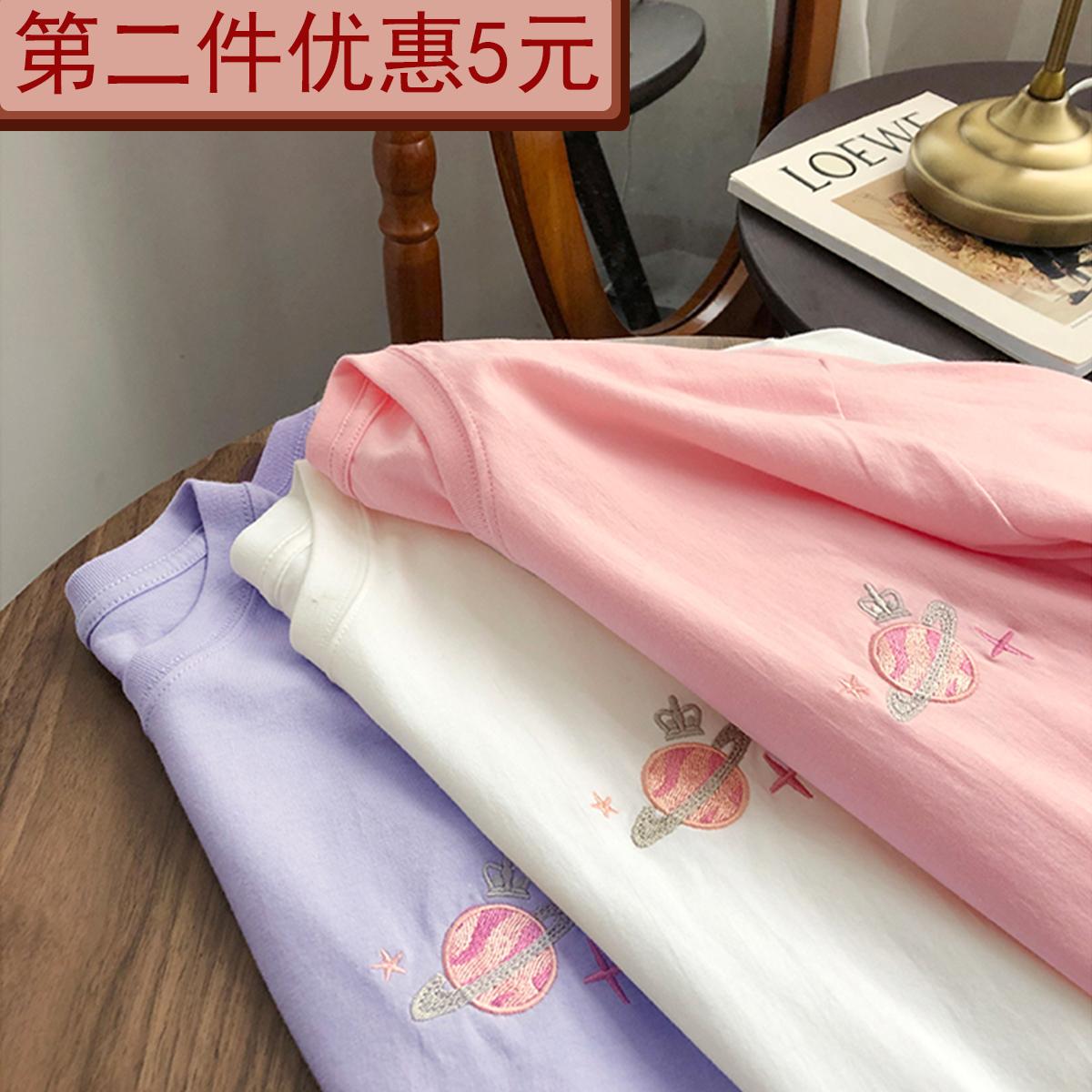 圆领星球刺绣短袖t恤女2020夏季新款百搭时尚网红休闲宽松上衣ins