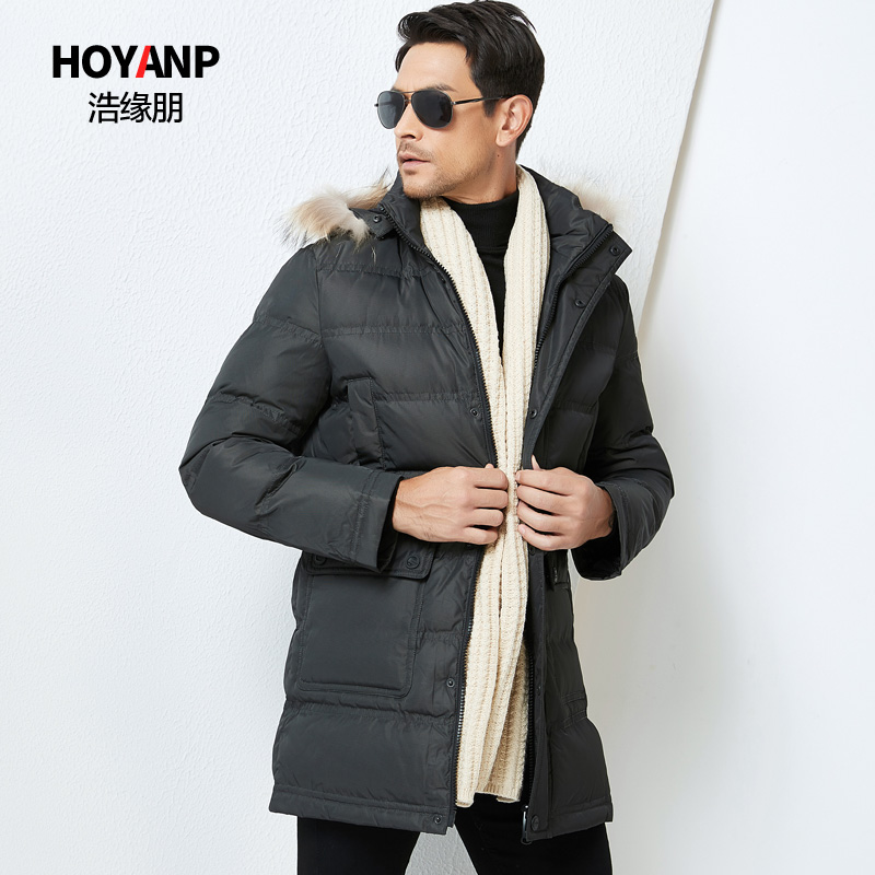 Haoyuanpeng mens clothing middle-aged and old dads clothing thickened medium long down jacket mens winter coat off season