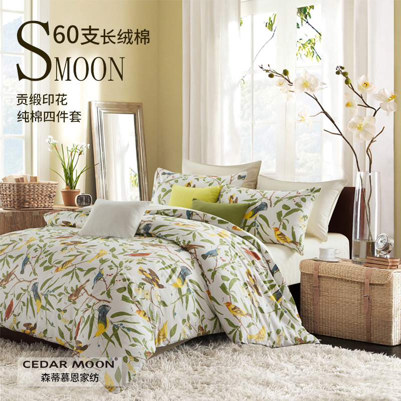 Cedar moon 60 thread cotton four piece set of pastoral Satin cotton printed bedding sheet and fitted sheet