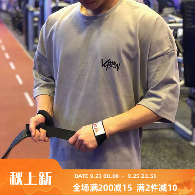 Muscle captain fitness clothes men's summer loose breathable short-sleeved T-shirt sports brothers casual running training clothes