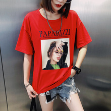 实拍 E2155#(6535)欧美范漫画头像字母印花短袖T恤女 M-XXL (5色)
