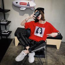 实拍 E2501#(6535)2018新款韩版女上衣宽松t恤印花潮 M-XXL (5色)