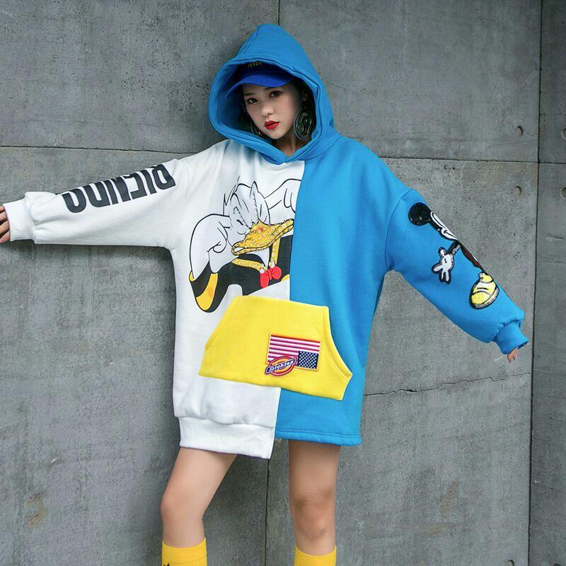 2020春季新款大码女装个性嘻哈印花卫衣女ins韩版慵懒不规则上衣