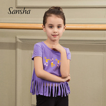 Sansha French three sand children short sleeve T-shirt round collar printing dance dress training clothing sports Jazz dance Dress