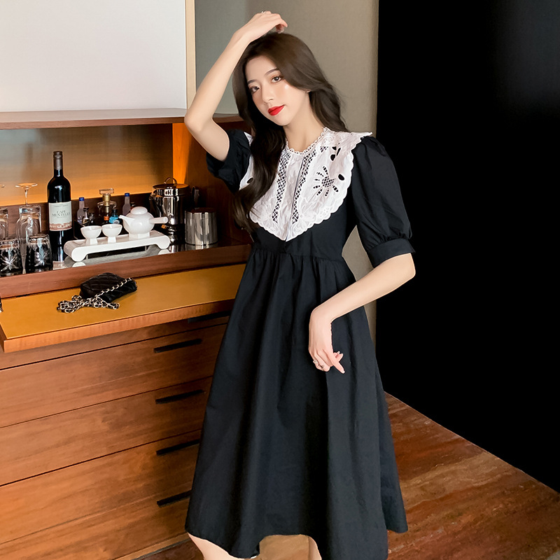 2021 summer French cut-out lace skirt stitching temperament close waist thin bubble short sleeve dress high quality