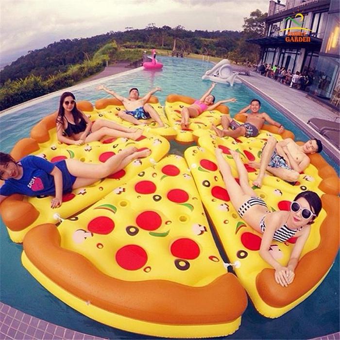 披萨浮排网红泳池充气浮床多人浮台水床休闲游泳漂浮垫子水上用品