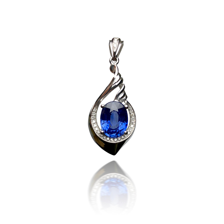 18K Gold Sri Lanka natural sapphire necklace for women