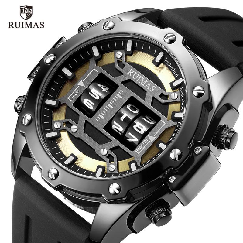 瑞马仕RUIMAS男士概念手表数字滚轮黑科技个性时尚潮流休闲石英表