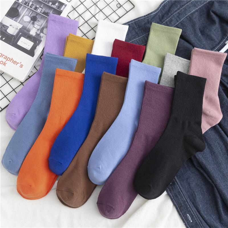 纯色袜子女中筒袜ins潮紫色春夏天薄款堆堆袜女纯棉长袜长筒夏季
