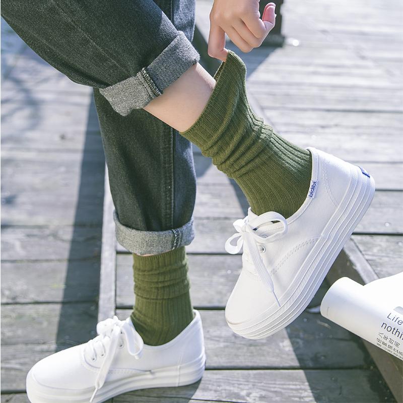 堆堆袜女日系长袜子女夏季薄款中筒袜纯棉韩版ins潮韩国高腰长筒