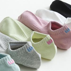 后跟刺绣袜子女短袜浅口韩国可爱日系夏季薄款ins潮纯棉百搭船袜