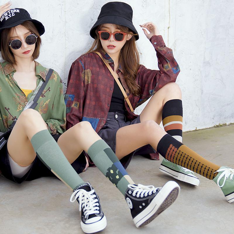 长袜女潮街头夏薄款小腿袜潮ins夏季不对称中长筒网红袜子女夏天
