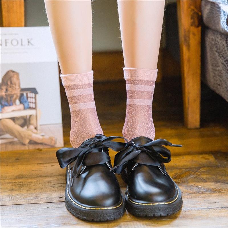 夏季水晶丝银葱女袜日系条纹薄款卡丝女士中筒袜学院风网眼丝袜子