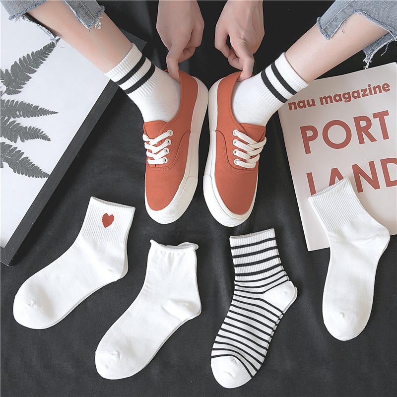 白色袜子女中筒袜纯棉ins潮夏天薄日系韩版可爱长筒袜春夏季薄款