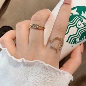 韩国东大门2020新款开口个性时尚两件套组合戒指网红食指环戒子女