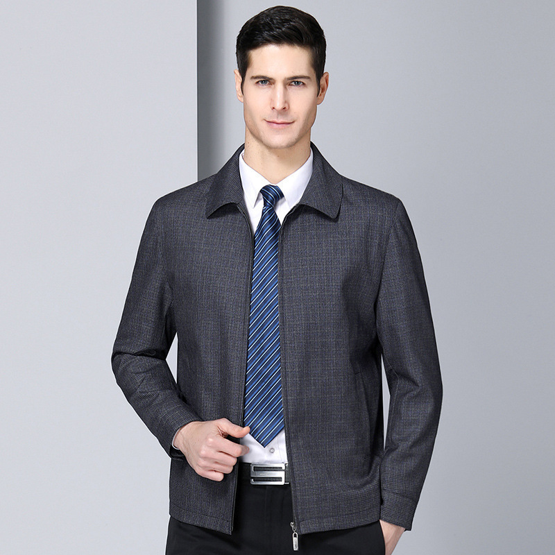 Dad wool middle aged mens jacket new spring cloth bottom zipper placket thin jacket