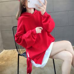 绑带中长款假两件卫衣女2020春秋新款韩版宽松薄款大码连帽外套潮