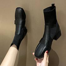 方头短靴女2019新款秋冬百搭ins粗跟弹力袜靴子中跟马丁靴瘦瘦靴