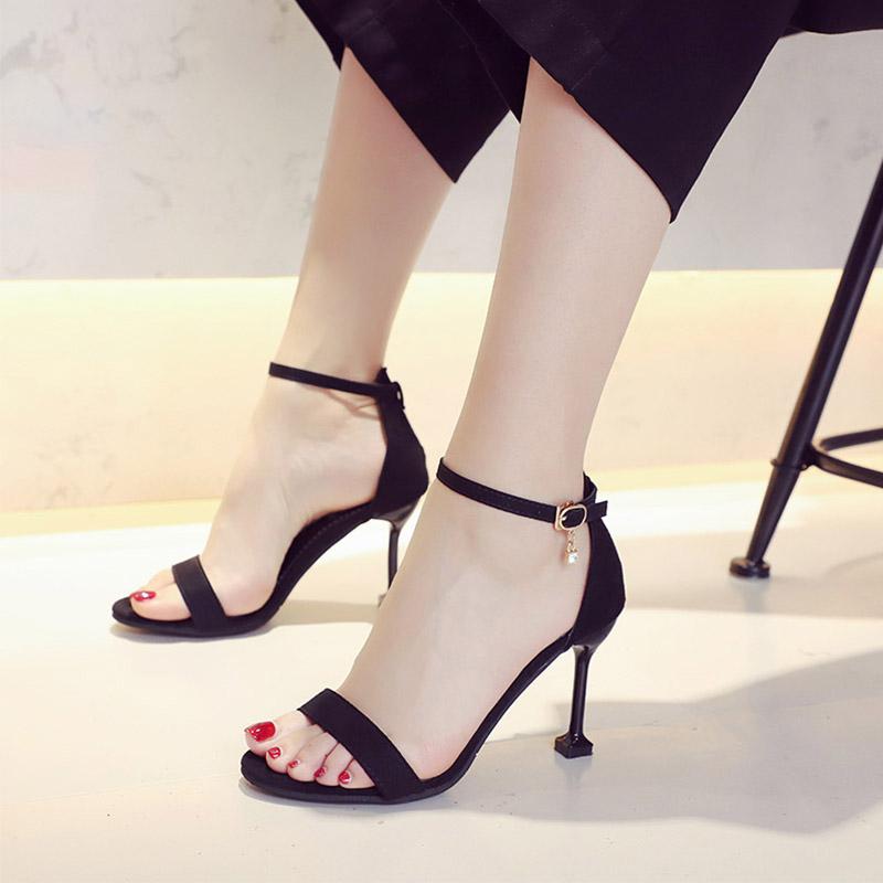 猫跟凉鞋女2021新款露趾网红高跟鞋
