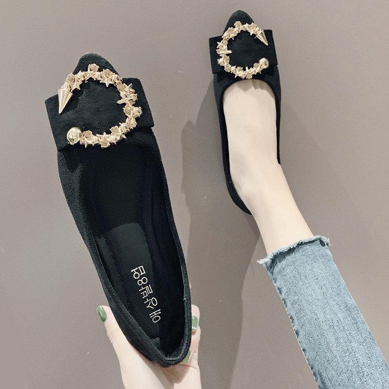 网红单鞋女2019夏款时尚尖头百搭圆扣一脚蹬休闲平底女士豆豆鞋子