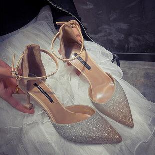 网红亮片高跟鞋 尖头一字扣带凉鞋 女细跟仙女风单鞋 女2019春季 新款