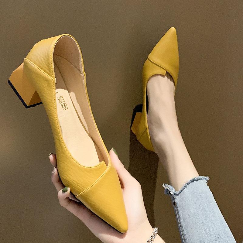 女鞋2020新款春季浅口尖头女士中粗跟单鞋网红晚晚两穿黑色高跟鞋
