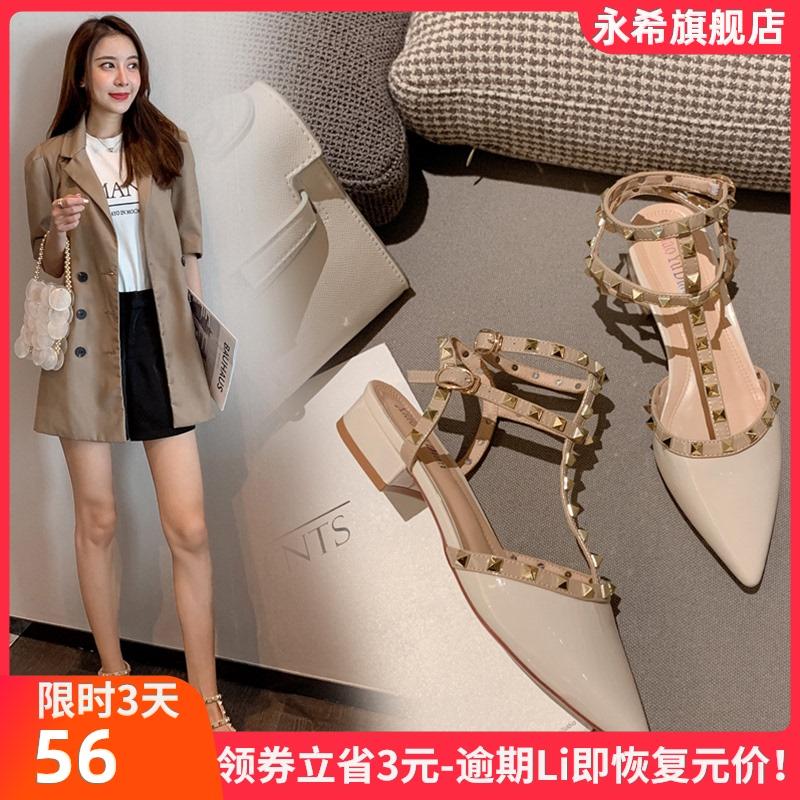 包头凉鞋女仙女风2021新款夏季时尚百搭铆钉网红中粗跟一字带单鞋