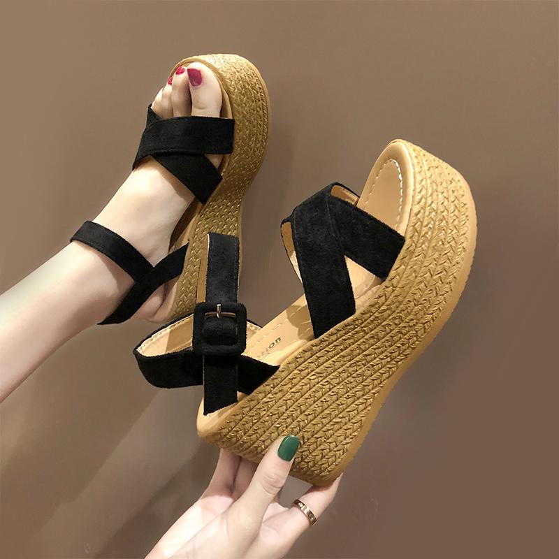 网红女夏2020新款仙女风高跟凉鞋