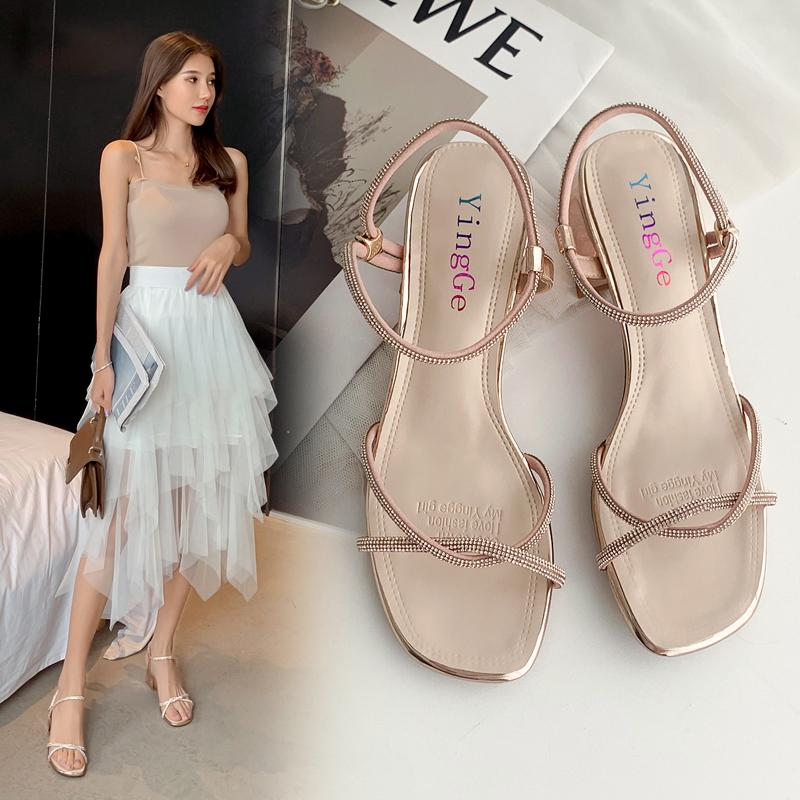 涼鞋女仙女風2020新款夏水鉆一字帶粗跟羅馬高跟鞋網紅兩穿時裝鞋