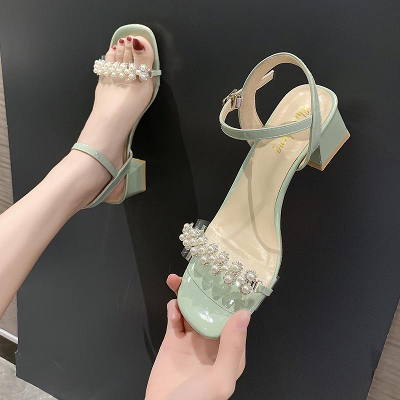 時裝涼鞋女2020新款夏季水鉆珍珠羅馬鞋仙女風一字扣帶粗跟晚晚鞋
