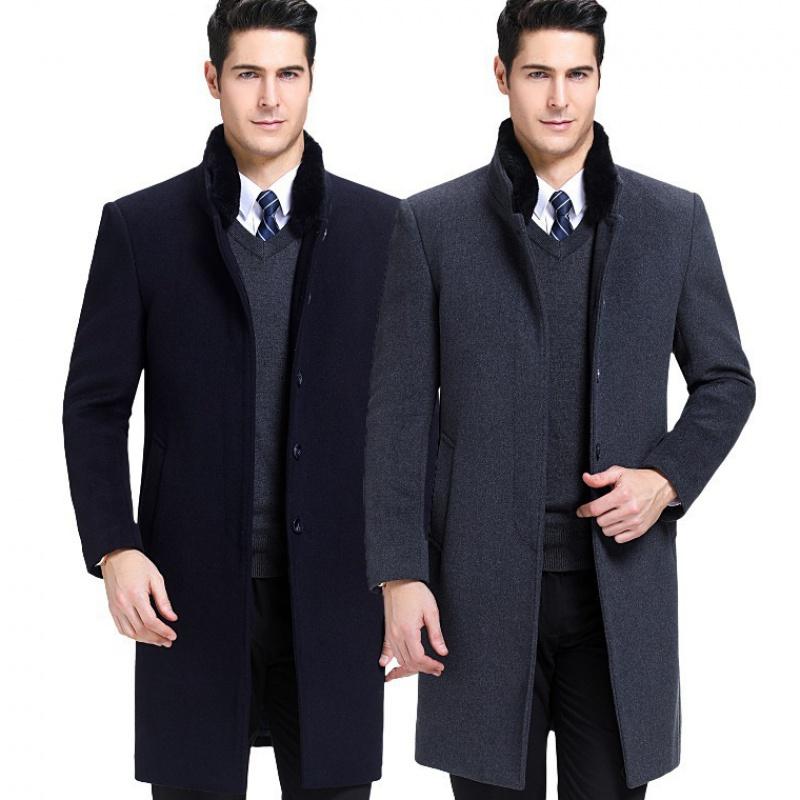 Coat, rabbit hair collar, cashmere jacket, warm wool coat in autumn and winter
