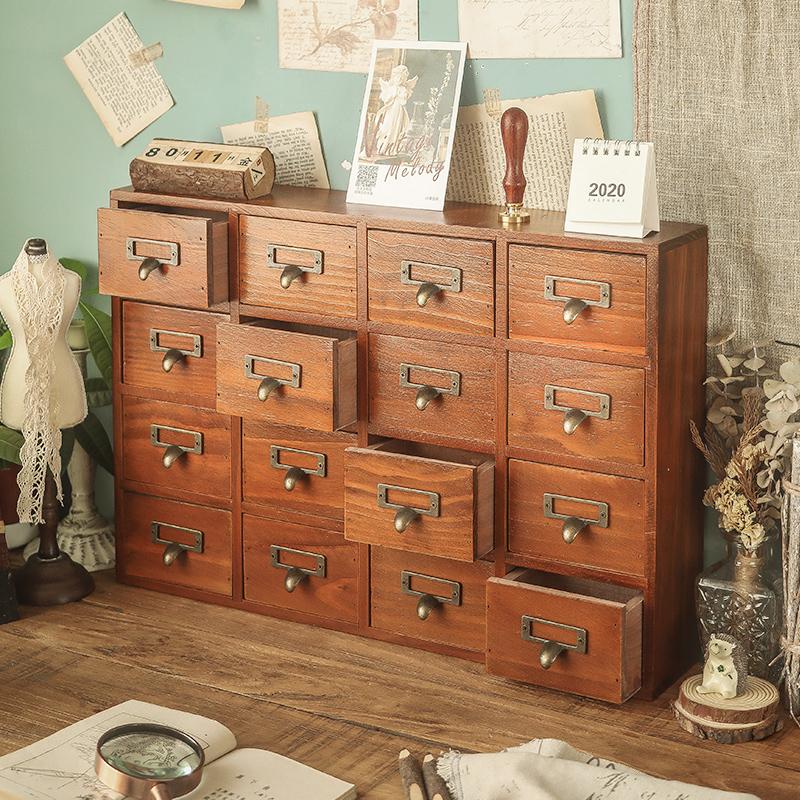 办公桌收纳柜抽屉式大号木质收纳盒