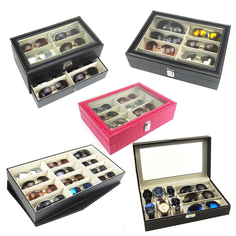 高档眼镜收纳盒8格12格 时尚太阳镜展示盒 皮质大墨镜盒多格 包邮