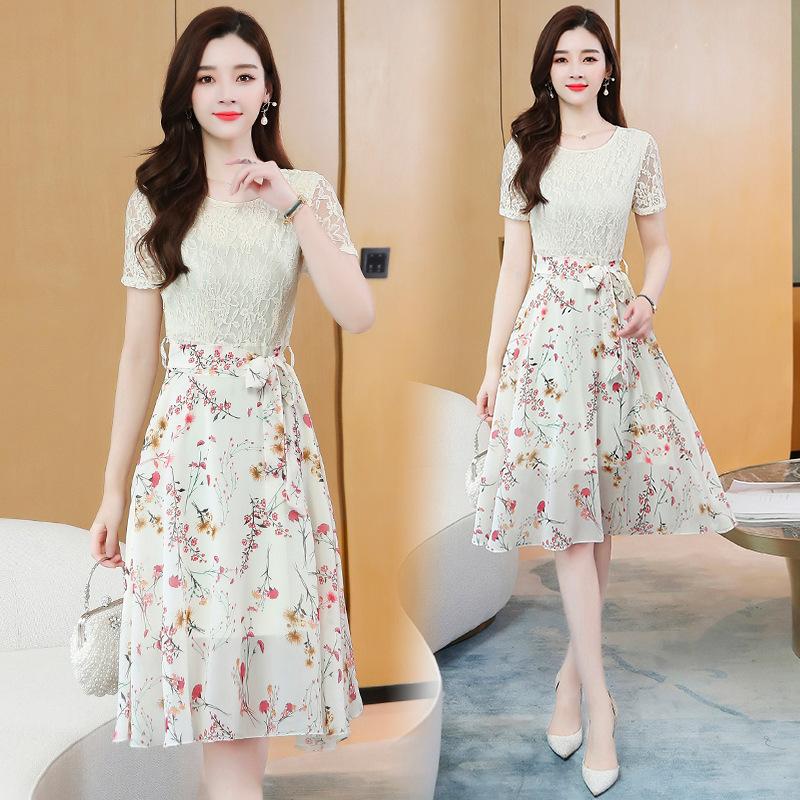 蕾丝拼接修身显瘦中长款过膝流行连衣裙2020年夏季新款印花裙子潮
