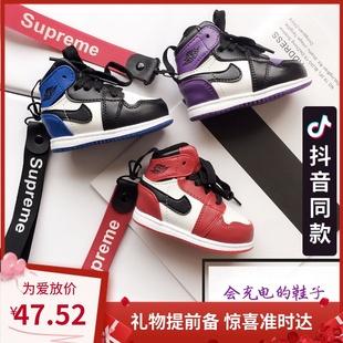 创意aj1鞋子充电宝迷你个性AJ11蓝球鞋移动电源可爱礼物男女炫酷