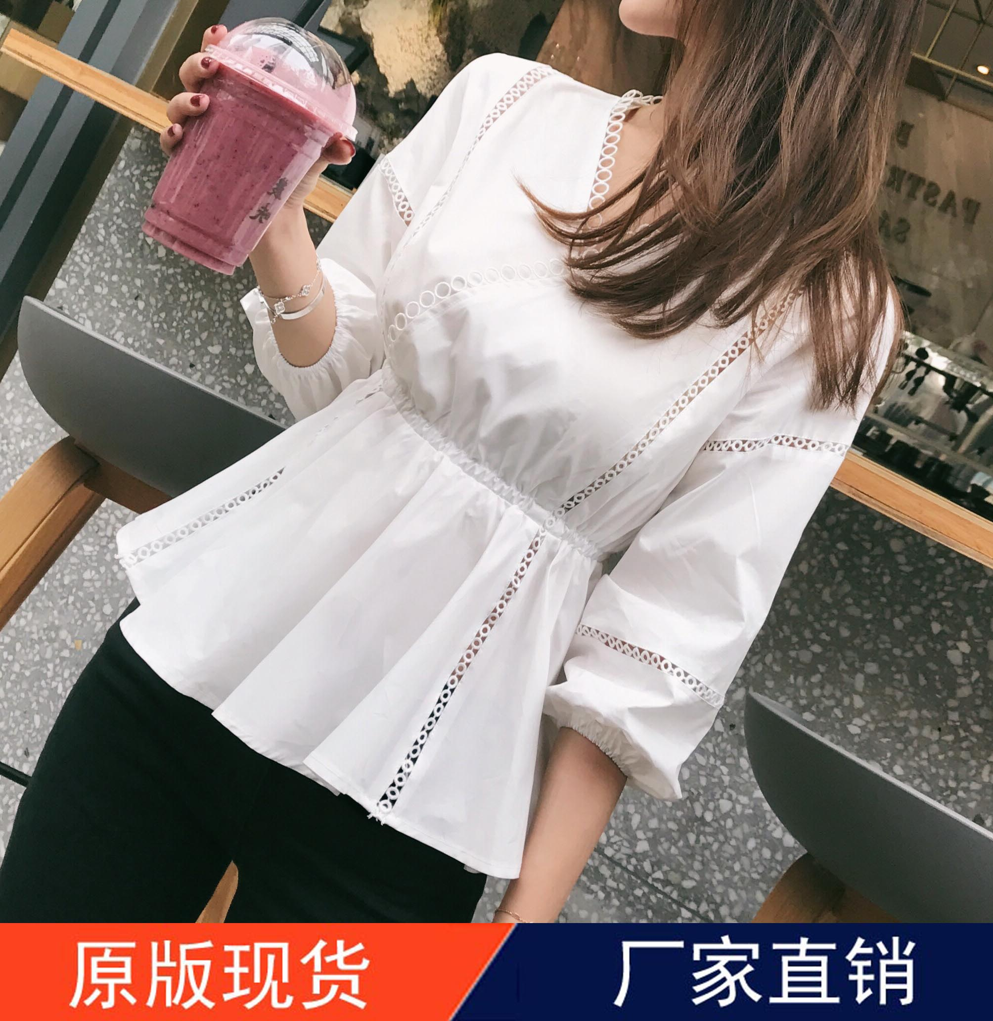 Meimeis summer: 2017 summer new product V-neck with pearl edge and medium sleeve leisure hollow blank shirt blouse
