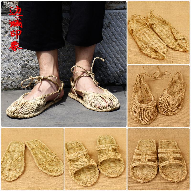 纯手工编织草鞋潮男女夏季系带个性复古凉鞋全包草编红军表演麻鞋