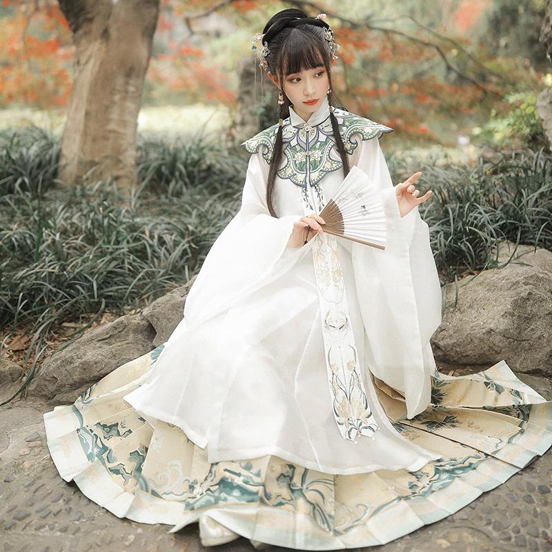 【十三余 小豆蔻儿】[绿珠清影]立领斜襟长衫云肩马面裙汉服女冬