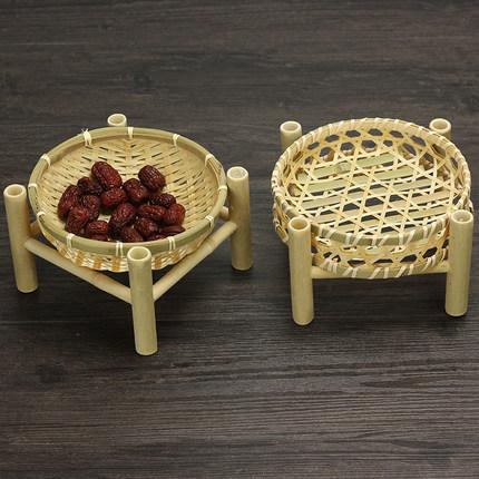 四方脚架子篮竹编多肉盆栽小筐茶点零食果盘农家乐糕点篮竹篓餐厅