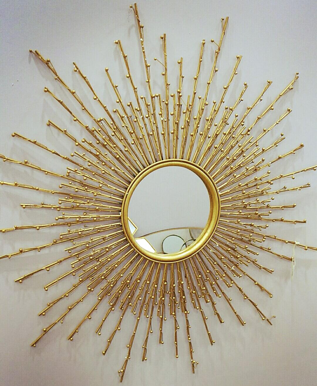 装饰镜子壁挂欧式玄关太阳镜圆艺术镜壁炉装饰镜墙面铁艺金属挂件