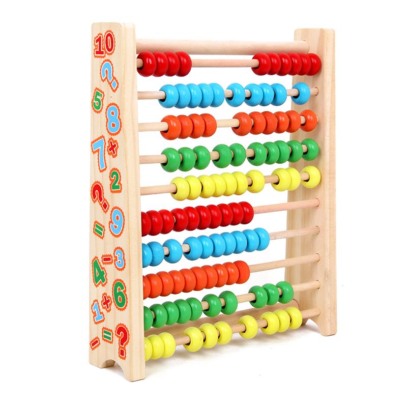 兒童算數教具計算架啟蒙早教數學玩具幼兒園木質珠算架益智計數器