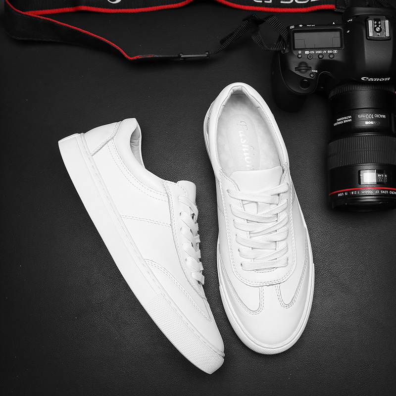 Summer men's shoes small white shoes men's leather low top Korean version versatile fashion breathable white board shoes men's casual shoes white shoes