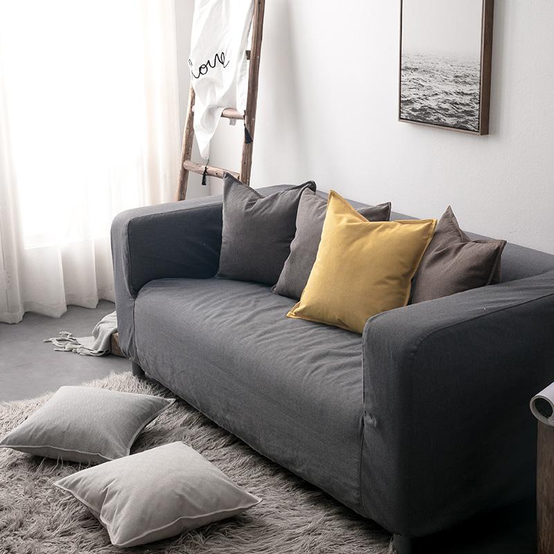 北欧抱枕ins靠枕棉麻纯色床头靠垫民宿靠背沙发腰枕抱枕套不含芯限时抢购