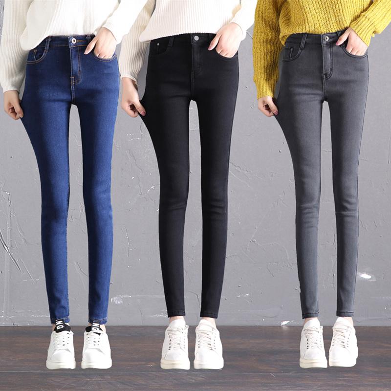 加厚加绒牛仔裤女秋冬2017新款黑色九分裤韩版高腰显瘦铅笔长裤子