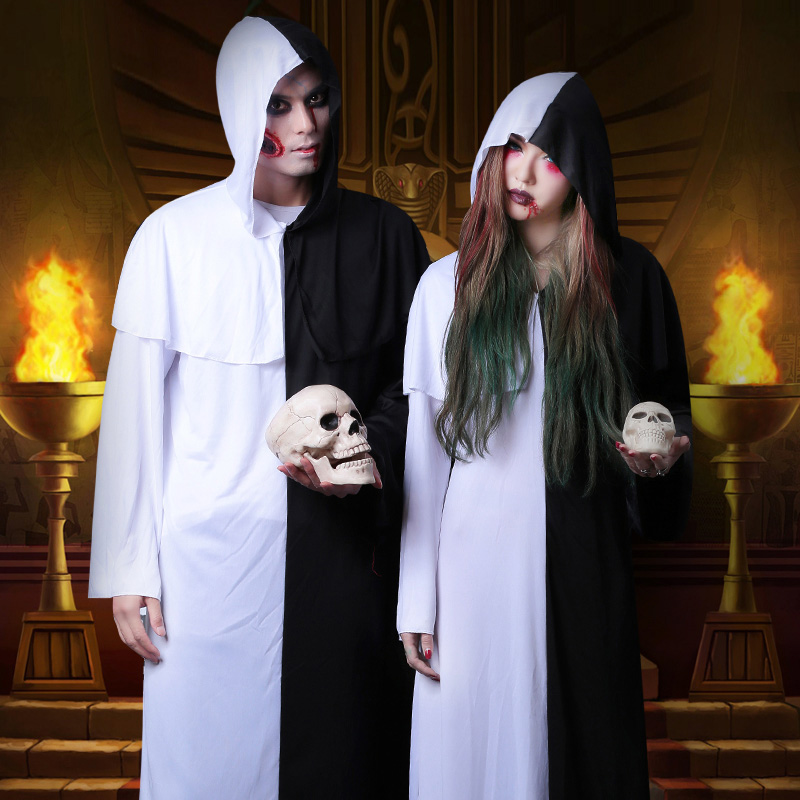 Halloween cosplay costume female horror black and white impermanence Taoist dress Qing Dynasty zombie Robe