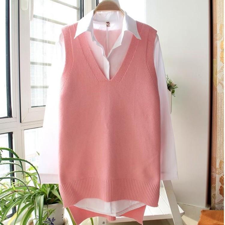 Sweater waistcoat womens spring dress new Korean medium length loose sleeveless V-neck knitted sweater waistcoat