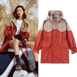 明星劉雯同款秋冬2020新款韓版拼色工裝大碼加厚中長款風衣外套女圖片